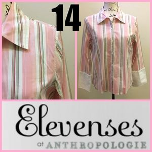 Sz 14 Anthro Elevenses Pink Button Down Top